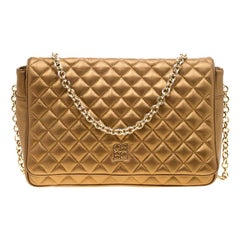 Carolina Herrera Gold Quilted Leather Flap Chain Shoulder Bag