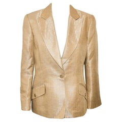 Carolina Herrera Gold Tone Herringbone Print Jacket Size 12 US