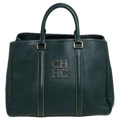 Carolina Herrera Green Leather Andy Tote
