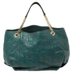 Carolina Herrera Green Monogram Leather Chain Hobo