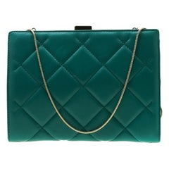 Carolina Herrera Green Quilted Leather Frame Shoulder Bag