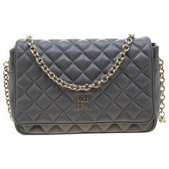 Carolina Herrera Grey Quilted Leather Flap Shoulder Bag