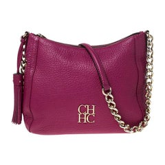 Carolina Herrera Hot Pink Leather Chain Tassel Shoulder Bag