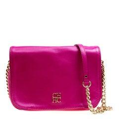 Carolina Herrera Hot Pink Leather New Baltazar Flap Shoulder Bag