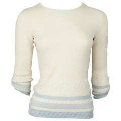 Carolina Herrera Ivory and Blue Knit 3/4 Sleeve - Small
