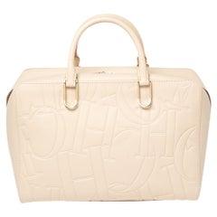 Carolina Herrera Ivory Embossed Leather Duke Satchel