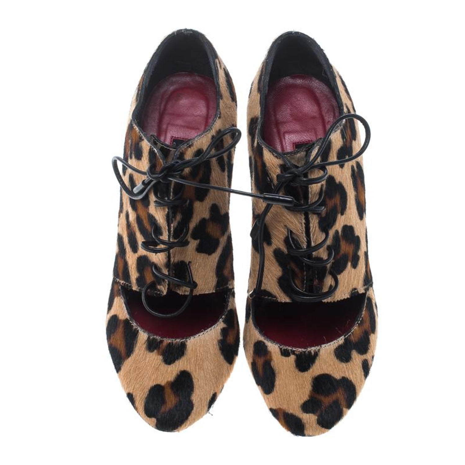 1fcc2f35df879 Carolina Herrera Leopard Print Calf Hair Cut Out Lace Up Booties Size 36 at  1stdibs