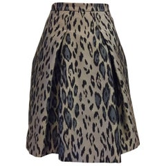 Carolina Herrera Leopard Print Ribbed Satin Bell Skirt