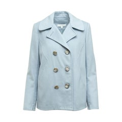 Carolina Herrera Light Blue Wool/Silk-Blend Peacoat