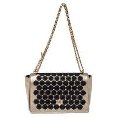 Carolina Herrera Light Gold Floral Embroidered Leather Flap Chain Shoulder Bag