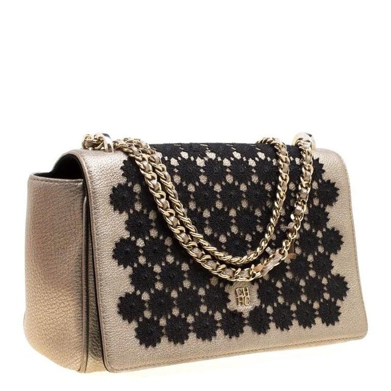 6d950627b312 Black Carolina Herrera Metallic Gold Leather Crochet Shoulder Bag For Sale