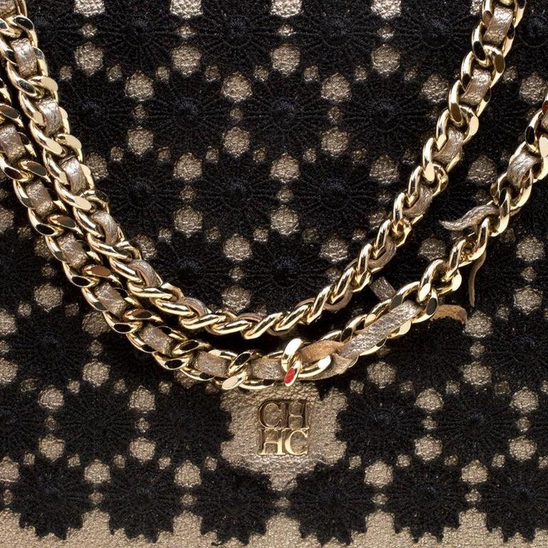 43ff29ab50c2 Women s Carolina Herrera Metallic Gold Leather Crochet Shoulder Bag For Sale