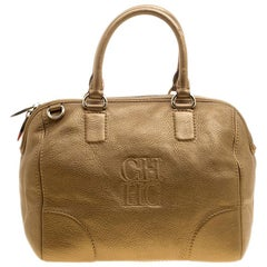 Carolina Herrera Metallic Gold Leather Satchel