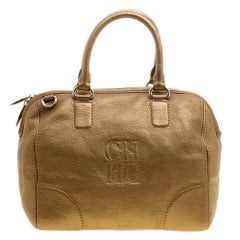 Carolina Herrera Metallic Gold Leather Satchel
