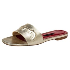 Carolina Herrera Metallic Gold Leather Slide Sandals Size 38