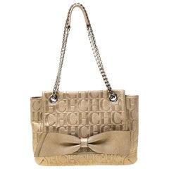Carolina Herrera Metallic Gold Monogram Leather Audrey Shoulder Bag