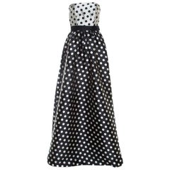 Carolina Herrera Monochrome Polka Dot Strapless Evening Gown S