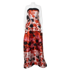 Carolina Herrera Multicolor Floral Jacquard Strapless Gown L