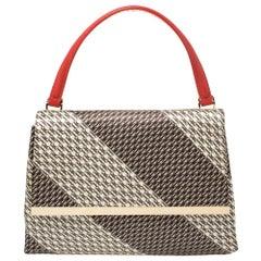 Carolina Herrera Multicolor Monogram Satin and Leather Top Handle Bag
