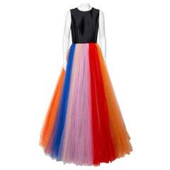 Carolina Herrera Multicolor Tulle Sleeveless Gown M