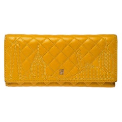 Carolina Herrera Mustard Quilted Leather Flap Wallet