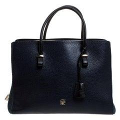 Carolina Herrera Navy Blue/Black Leather Zip Tote