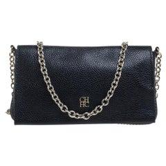 Carolina Herrera Navy Blue Leather Flap Crossbody Bag