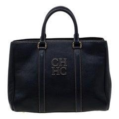 Carolina Herrera Navy Blue Leather Matteo Tote
