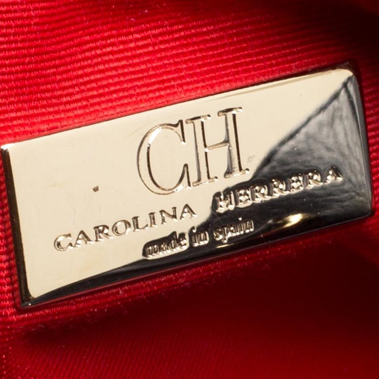 Carolina Herrera Navy Blue Leather Top Handle Bag In Good Condition For Sale In Dubai, AE