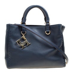 Carolina Herrera Navy Blue Leather Top Handle Bag