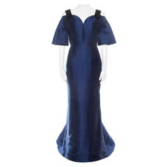 Carolina Herrera Navy Blue Silk Blend Embellished Strap Evening Gown S