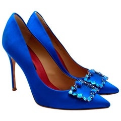 Carolina Herrera New Season Blue Satin Pumps with Crystal Buckle - Size 37