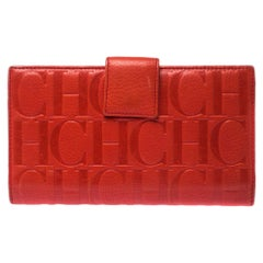 Carolina Herrera Orange Monogram Leather Flap Wallet