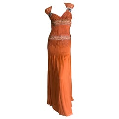 Carolina Herrera Orange Silk Embellished Evening Gown Size 4