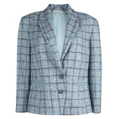 Carolina Herrera Powder Blue Checked Tweed Blazer XL
