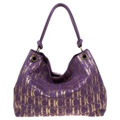 Carolina Herrera Purple/Gold Monogram Leather Hobo