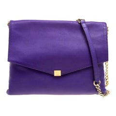 Carolina Herrera Purple Leather Envelope Shoulder Bag
