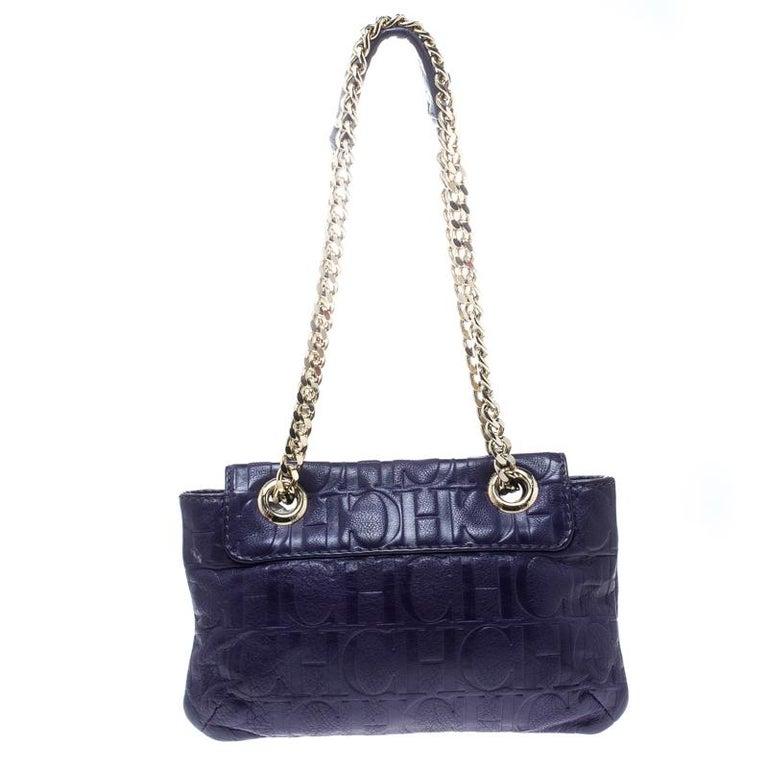 Carolina Herrera Purple Monogram Leather Audrey Shoulder Bag For Sale At 1stdibs