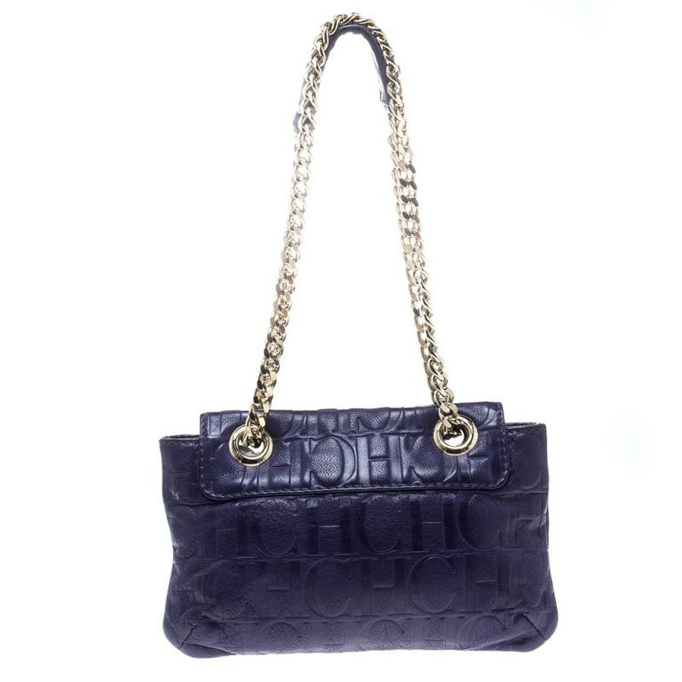 Carolina Herrera Purple Monogram Leather Audrey Shoulder Bag For Sale 2