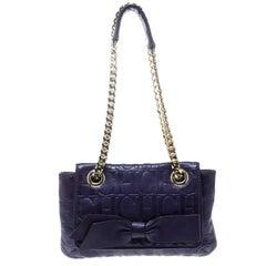 Carolina Herrera Purple Monogram Leather Audrey Shoulder Bag