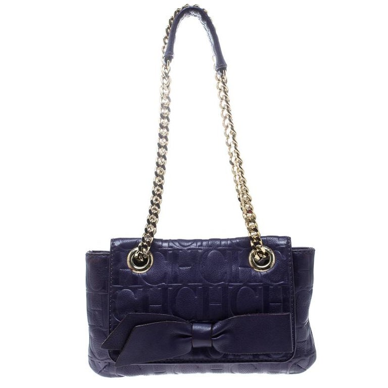 Carolina Herrera Purple Monogram Leather Audrey Shoulder Bag For Sale