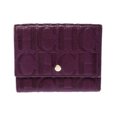 Carolina Herrera Purple Monogram Leather Tri Fold Compact Wallet