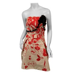 Carolina Herrera Red and White Print Silk Ottoman Strapless Cocktail Dress