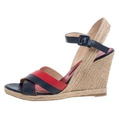 Carolina Herrera Red Black Leather Criss Cross Wedge Ankle Strap Sandals Size 41