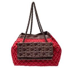 Carolina Herrera Red/Brown Quilted Satin and Leather Logo Pocket Shoulder Bag