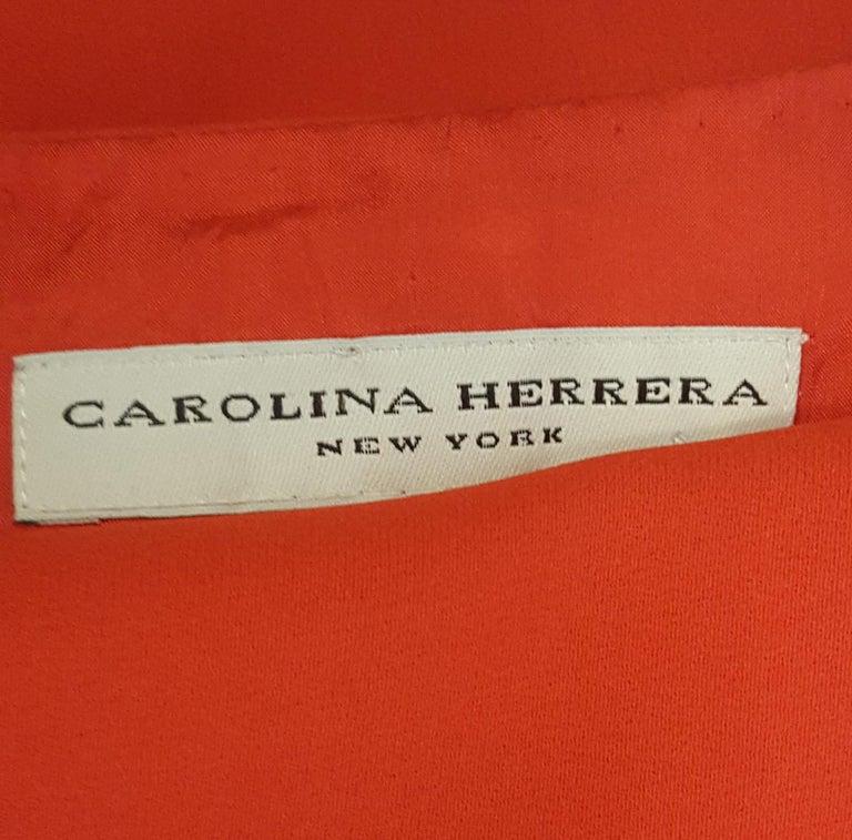 Women's Carolina Herrera Red Crepe Long Sleeve Dress For Sale