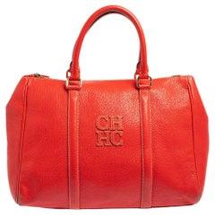 Carolina Herrera Red Leather Andy Boston Bag