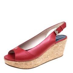 Carolina Herrera Red Leather Cork Platform Peep Toe Slingback Sandals Size 39