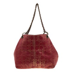 Carolina Herrera Red Monogram Leather Chain Shoulder Bag