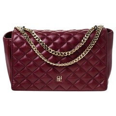 Carolina Herrera Red Quilted Leather Flap Chain Shoulder Bag